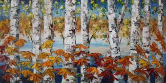 Autumn Birch Tree Oil Paintings