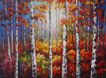 Hand Painted Aspen Tree Oil Paintings