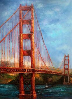 golden gate bridge oil painting