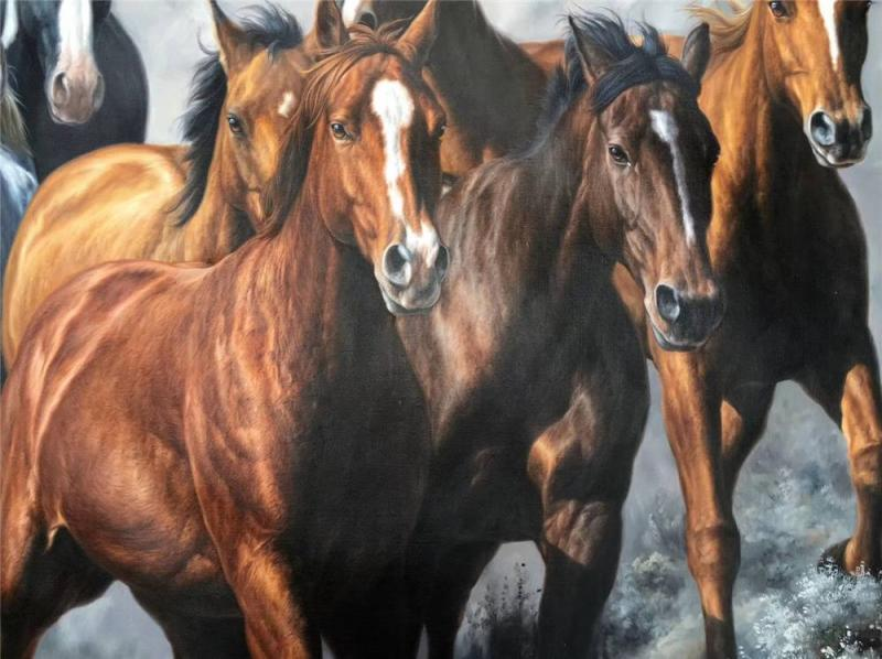 oil painting of running horses